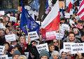 The demonstration of the committee of the defence of the democracy kod for free media wolne media and democracy against pis g Stock Images