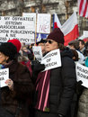 The demonstration of the committee of the defence of the democracy kod for free media wolne media and democracy against pis g Stock Photo
