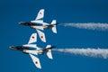 Demonstration flights of blue impulse is the aerobatic team the japan air self defense force Stock Image