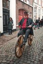 Demonstration  of penny-farthing rider during the Dickens Festival in Deventer in The Netherlands Royalty Free Stock Photo