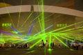 Demostración del laser de la noche en China Foto de archivo