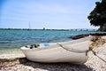 Den ensamma roddbåten Royaltyfri Foto