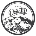 Denali in Alaska Range, North America, USA outdoor adventure badge. McKinley mountain illustration.