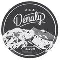 Denali in Alaska Range, North America, USA outdoor adventure badge. McKinley mountain illustration. Royalty Free Stock Photo