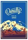 Denali in Alaska Range, North America, USA outdoor adventure poster. McKinley mountain illustration. Royalty Free Stock Photo