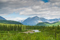 Denali landscape mountain and river next to national park alasks usa Royalty Free Stock Photo