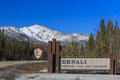 Denali national park and preserve sign with snow mountain as background Royalty Free Stock Image