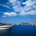 Denia marina boats in alicante valencia province spain of Royalty Free Stock Photos