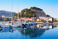 Denia mediterranean port village with castle Stock Photos