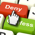 Denial deny keys shows guilt or denying guilt online showing Stock Image