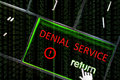 Denial service attack concept with the focus on the return butt ddos button overlaid binary code Stock Photos