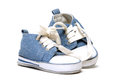 Denim baby shoes a pair of for the toddlers feet Stock Image