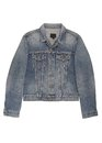 Denim jacket blue male is on white Royalty Free Stock Photo