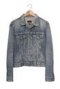 Denim jacket on coat hanger a is Royalty Free Stock Image
