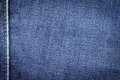 Denim jeans fabric texture background with seam for design. Royalty Free Stock Photo