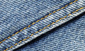 Denim material with seam running diagonally Stock Photography