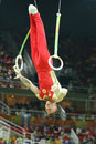Denis Abliazin of Russian Federation competes at the Men`s Rings Final on artistic gymnastics competition at Rio 2016 Olympic Game