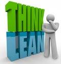 Denken sie mageres person thinking efficient business management produkt Stockfotos