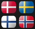 Denmark Finland Norway Sweden Flags Stock Photography
