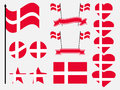Denmark flag set. Collection of symbols, flag in heart. Vector Royalty Free Stock Photo
