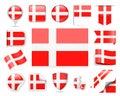 Denmark Flag Vector Set Royalty Free Stock Photo