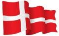 Denmark Flag Waving Vector Illustration