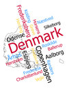 Denmark map and cities words cloud with larger Stock Photo