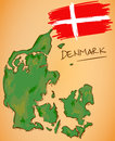 Denmark Map and National Flag Vector Royalty Free Stock Photo