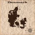 Denmark old map with grunge and crumpled paper. Vector illustration Royalty Free Stock Photo