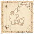 Denmark old pirate map. Royalty Free Stock Photo