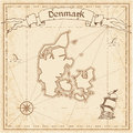 Denmark old treasure map. Royalty Free Stock Photo