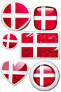 Denmark - Set of stickers and buttons Royalty Free Stock Photo