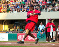 Dennis oil can boyd former boston red sox pitcher takes a swing at a pitch from magic johnson Royalty Free Stock Image