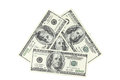 The denomination of one hundred dollars pyramid folded Royalty Free Stock Photography