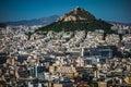 Dense area of athens greece city with mountain Stock Photos