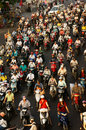 Dense crowed traffic motorcycle ho chi minh city viet nam mar scene of urban in rush hour crowd of people wear helmet ride stop at Stock Image