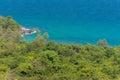 Dense jungle shore line meets tranquil blue sea