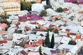 Dense urban development - a view of the roofs of houses from above. Overpopulation concept. Royalty Free Stock Photo