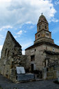 Densus church the oldest othodox in romania near hunedoara having stone walls and roman colums an unesco monument Stock Images