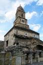 Densus church the oldest othodox in romania near hunedoara having stone walls and roman colums an unesco monument Royalty Free Stock Photos