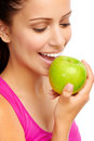 Dental apple woman eating healthy diet and strong teeth Stock Photos