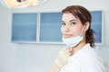 Dental assistant with mouthguard smiling in practice Royalty Free Stock Photo