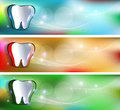 Dental banners various colors beautiful and bright designs cut out tooth of colorful background Royalty Free Stock Photography