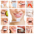 Dental care collage dental services of photographs on the theme of and healthy teeth Royalty Free Stock Photo