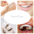 Dental care collage dental services of photographs on the theme of and healthy teeth Stock Photos