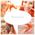 Dental care collage dental services of photographs on the theme of and healthy teeth orthodontics theme methods of teeth bite Royalty Free Stock Photography