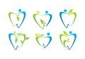 Dental care logo, dentist illustration health people nature symbol set design vector Royalty Free Stock Photo