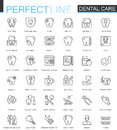 Dental care thin line web icons set. Outline stroke icons design.