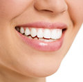 Dental care woman beautiful smile of young female with white teeth teeth whitening concept isolated over white background Royalty Free Stock Photo