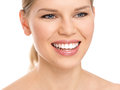 Dental care woman portrait of young beautiful smiling on white background teeth whitening Royalty Free Stock Photography